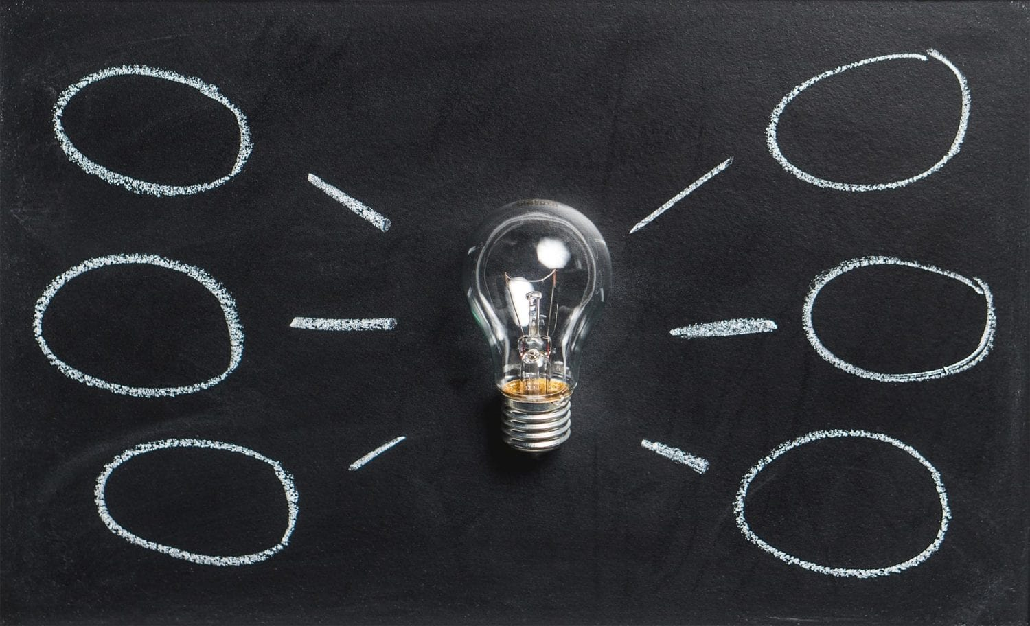Lightbulb ideas for business strategy on blackboard with chalk information bubbles